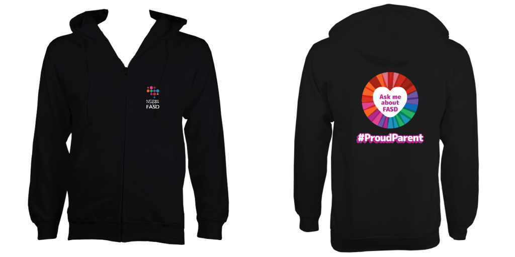 Men's Hoodie (Black) Ask me about FASD + Proud Parent