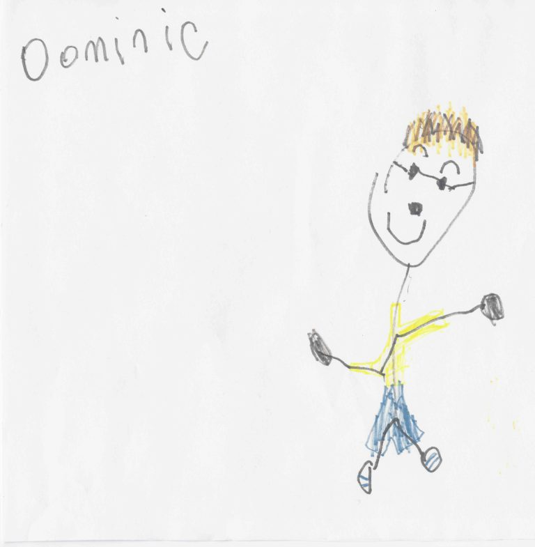 Crayon drawing of a young person with FASD